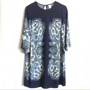 [H&M] BLUE YELLOW PAISLEY VISCOSE DRESS SIZE 8